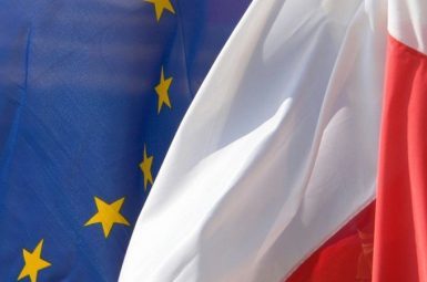 Flagi UE i Polski